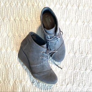 TOMS grey suede lace up wedge booties